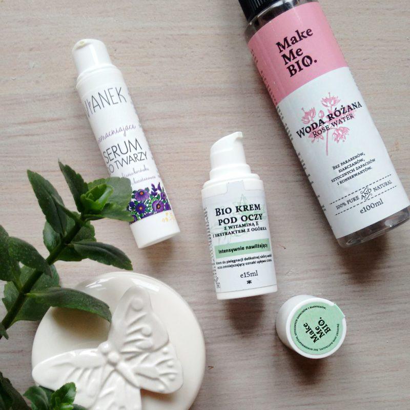 Make Me Bio woda różana i krem pod oczy z witaminą E i ekstraktem z ogórka oraz Vianek wzmacniające serum do twarzy